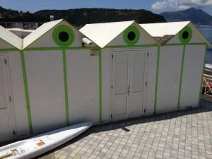 beach huts procida island italy
