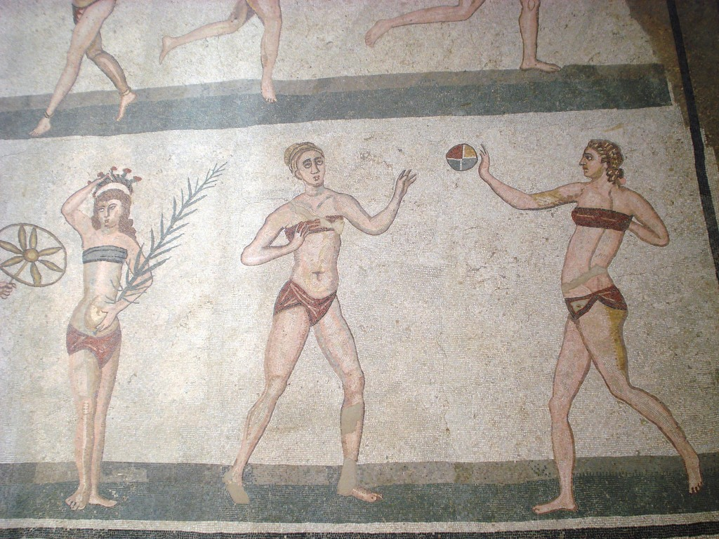 the bikini room mosaic floor villa romana del casale sicily