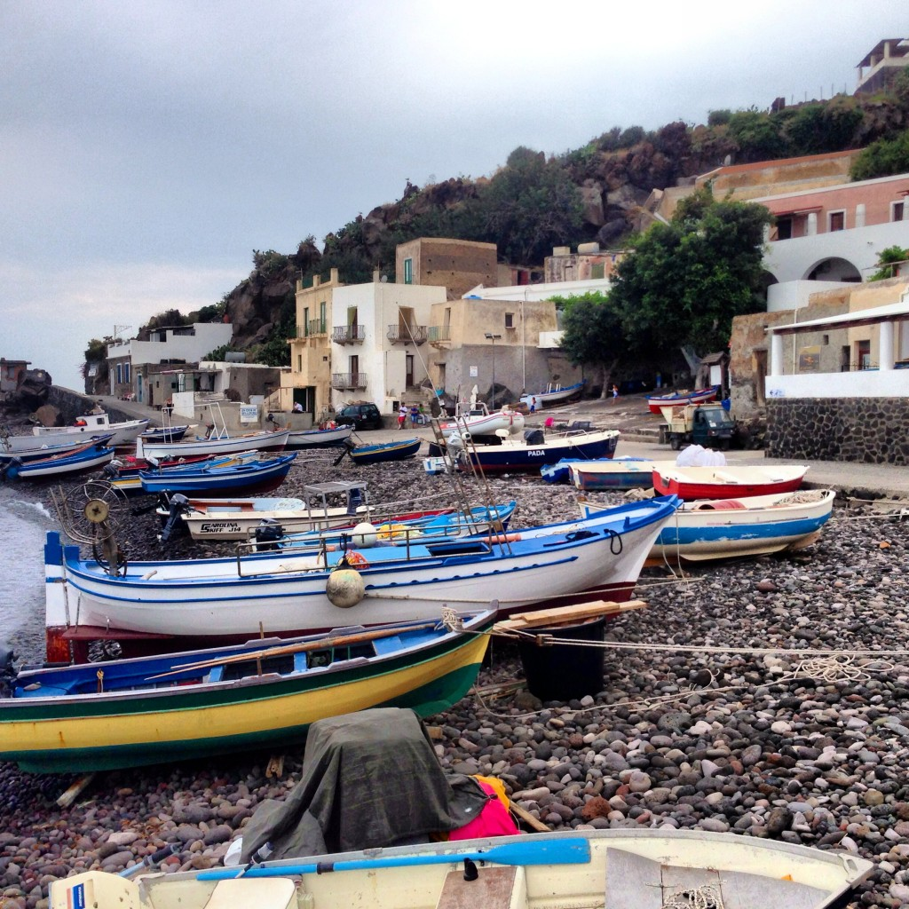 boats on beach aeolilan islands sicily filicudi alicudi