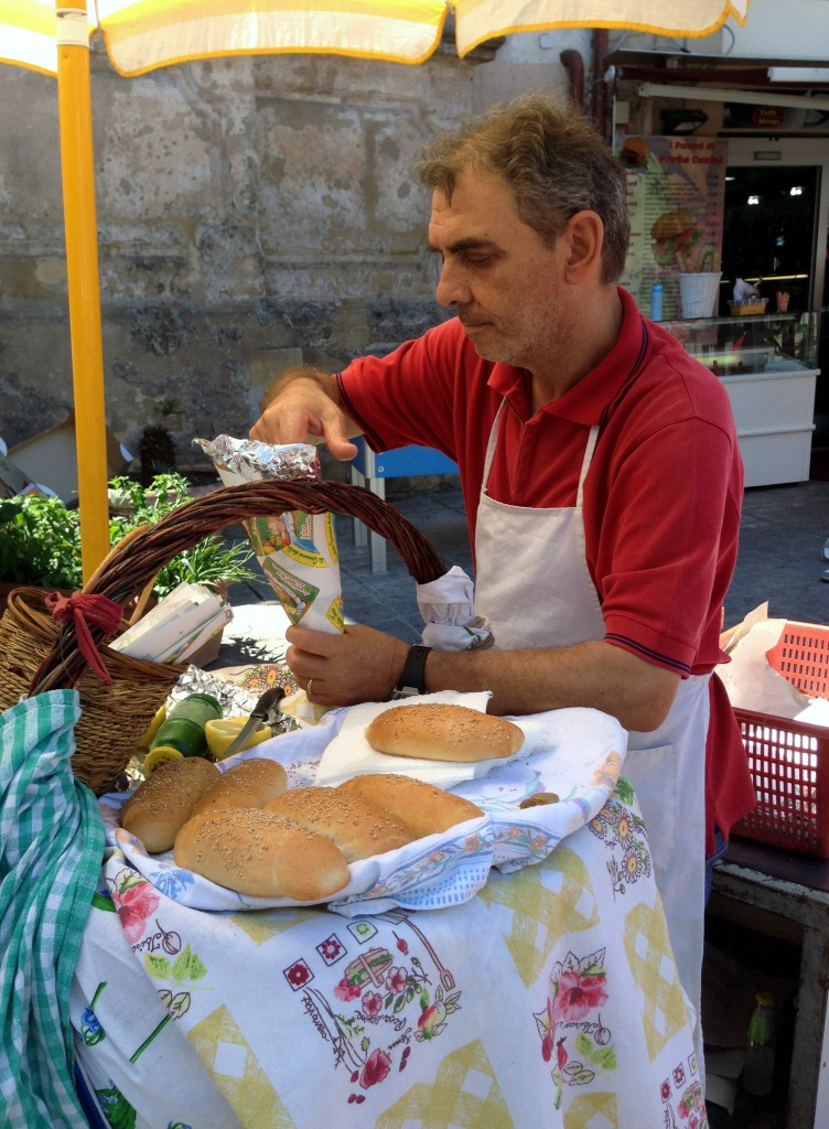 Fritta vendor on the Palermo street food tour, Capo market