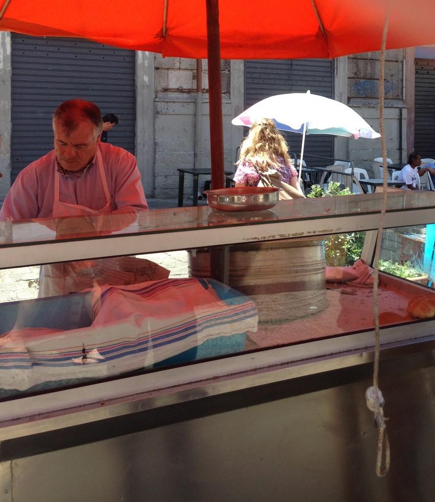 spleen sandwich vendor Vucciria market, Palermo Sicily