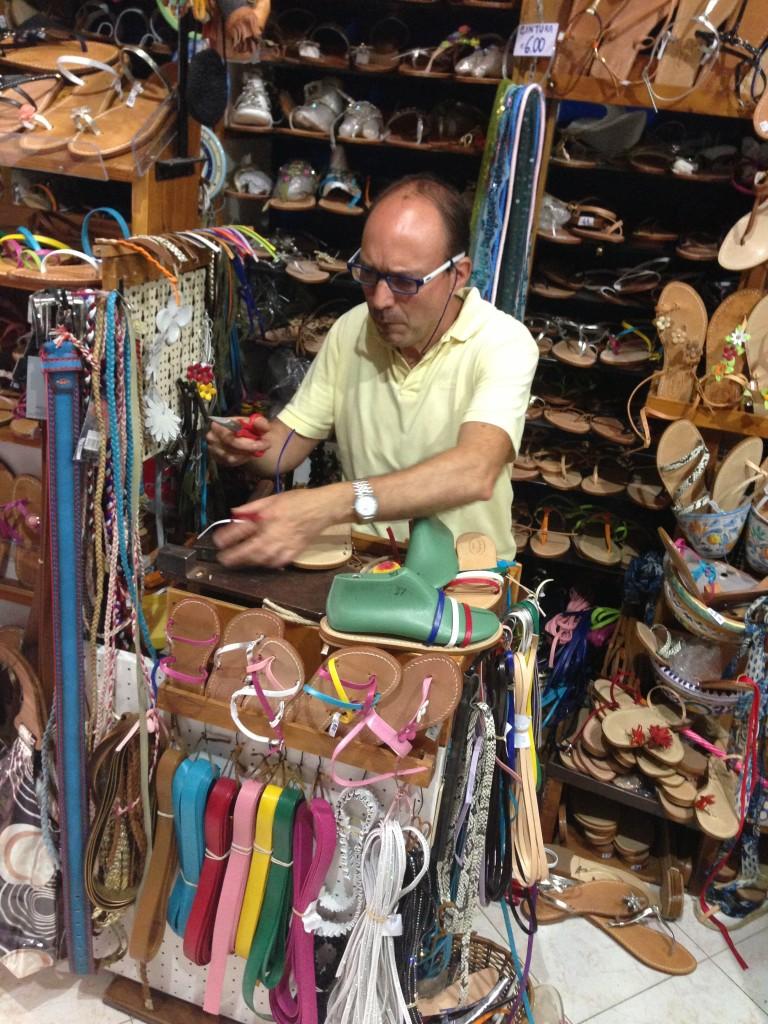 shoemaker cobbler Via Garibaldi Lipari Sicily