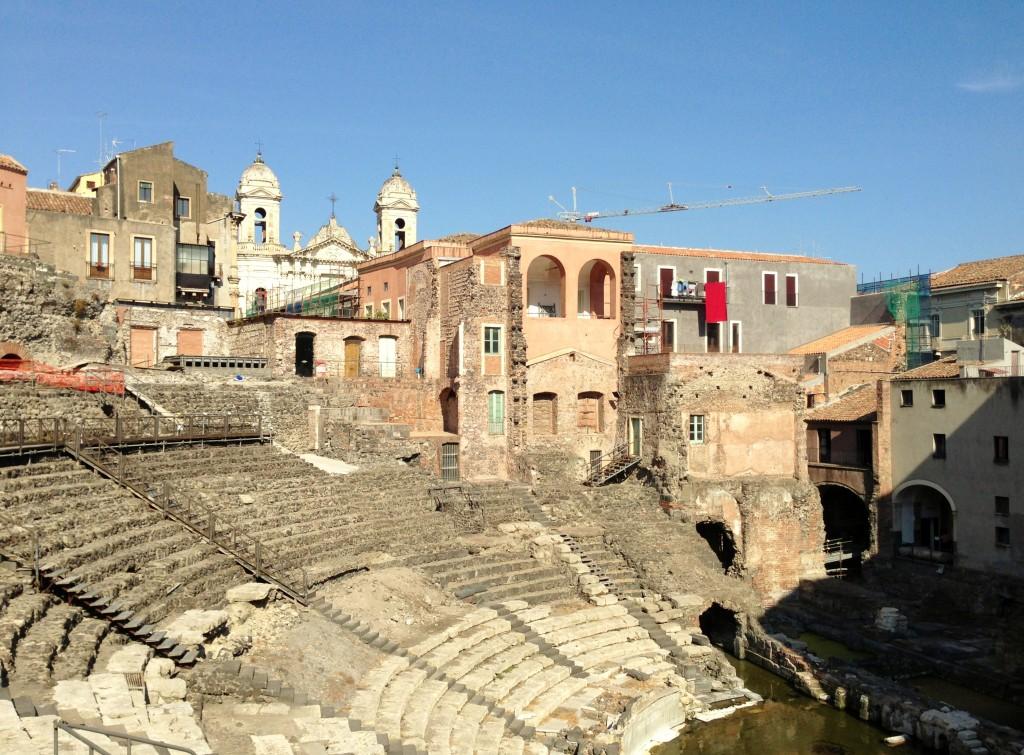 Greek ampitheatre teatro antico e Odeon Catania Sicily