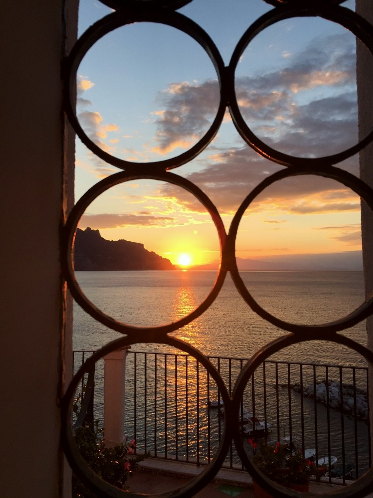 Sunrise from the bathroom window, Eva Rooms, Atrani, Amalfi coast
