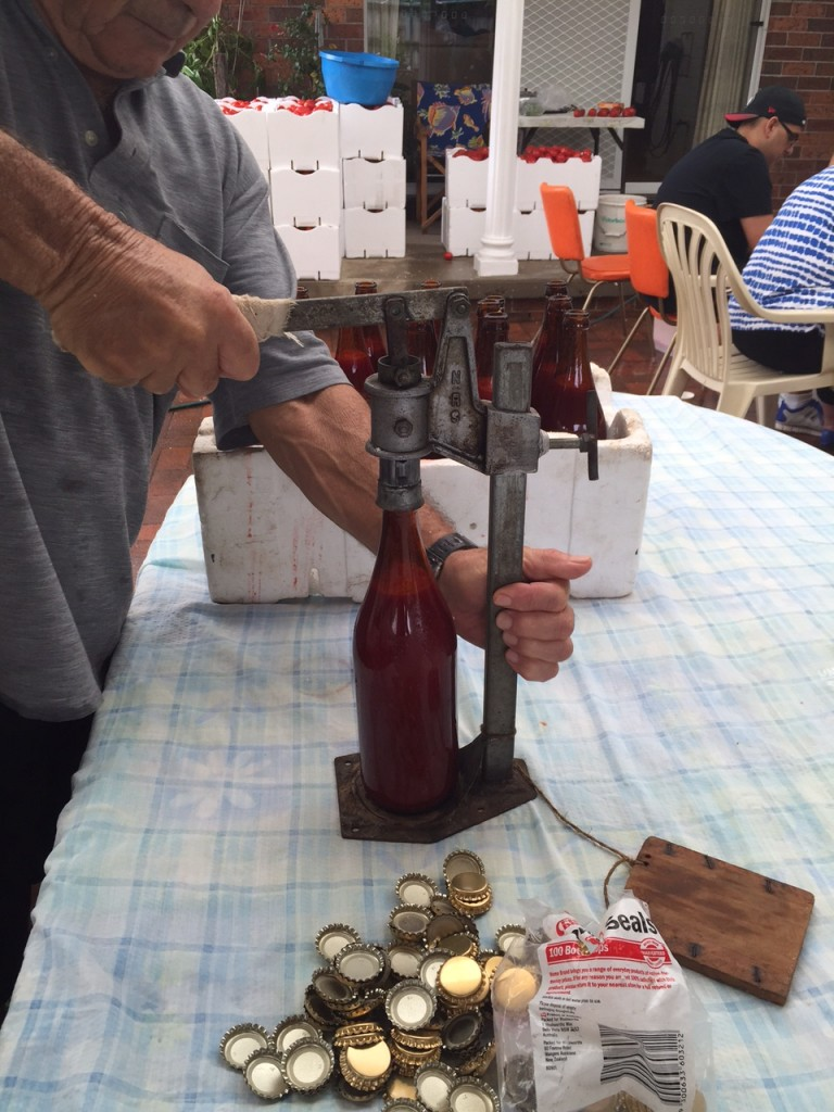 capping the passata bottles