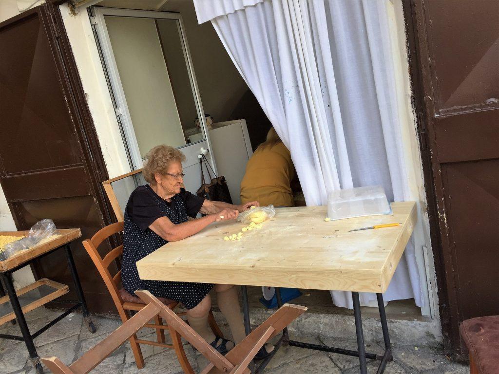 Nonna making orecchiette, Bari Vecchia