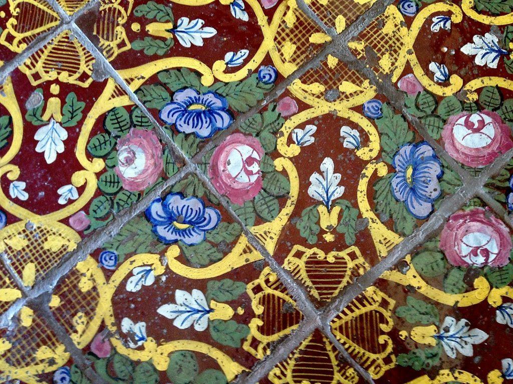 decorative tile floor, B&B Palazzo Duomo del Castro, Ragusa, Sicily