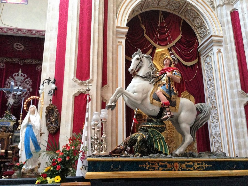 St George slaying the dragon, Basilica di San Giorgio, Ragusa, Sicily