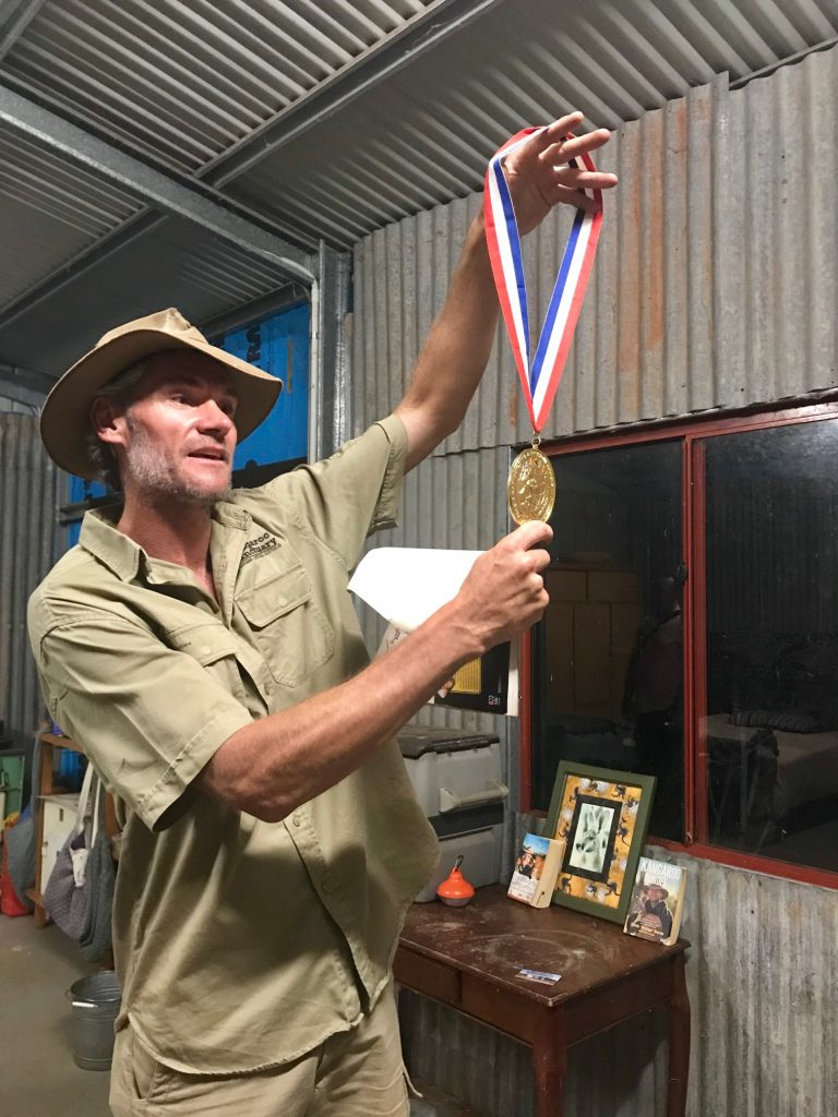 Brolga with Roger's medals